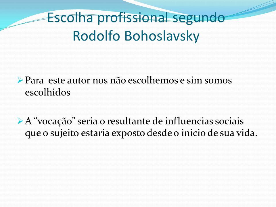 """Escolha profissional segundo Rodolfo Bohoslavsky  Para este autor nos não escolhemos e sim somos escolhidos  A """"vocação"""" seria o resultante de influ"""
