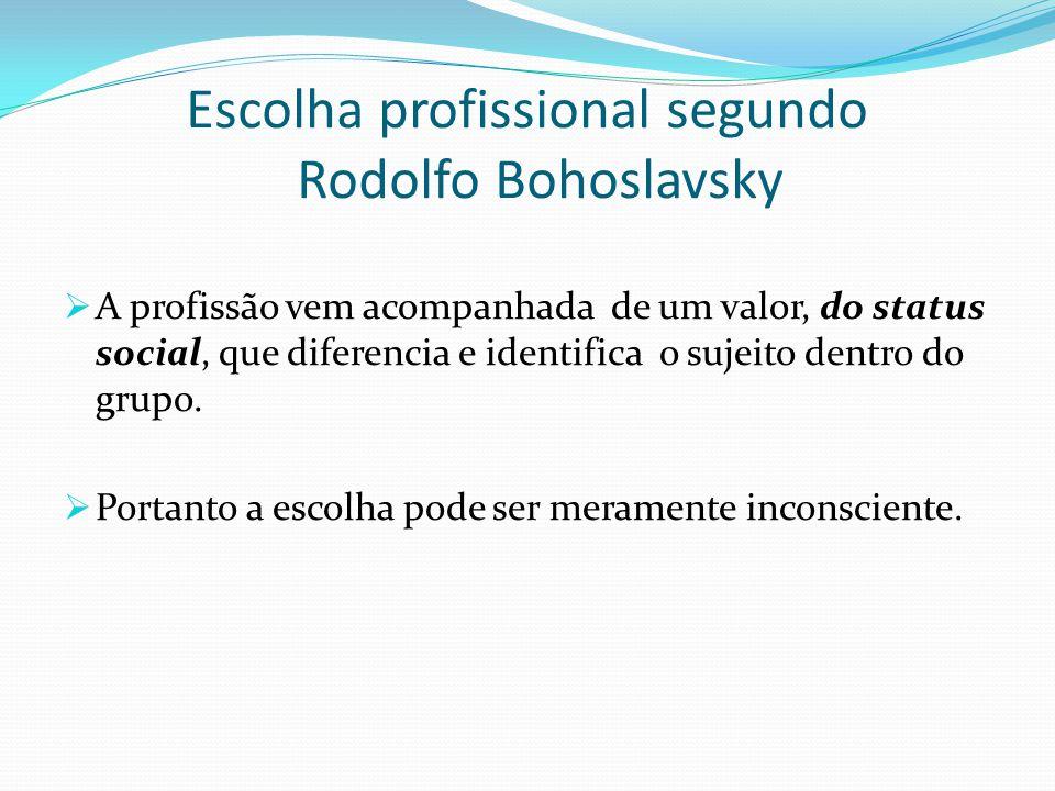 Escolha profissional segundo Rodolfo Bohoslavsky  A profissão vem acompanhada de um valor, do status social, que diferencia e identifica o sujeito de