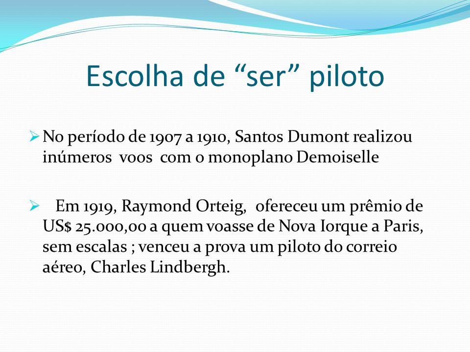 """Escolha de """"ser"""" piloto  No período de 1907 a 1910, Santos Dumont realizou inúmeros voos com o monoplano Demoiselle  Em 1919, Raymond Orteig, oferec"""