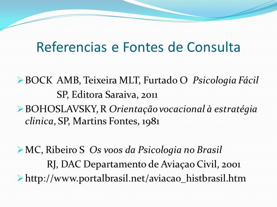 Referencias e Fontes de Consulta  BOCK AMB, Teixeira MLT, Furtado O Psicologia Fácil SP, Editora Saraiva, 2011  BOHOSLAVSKY, R Orientação vocacional