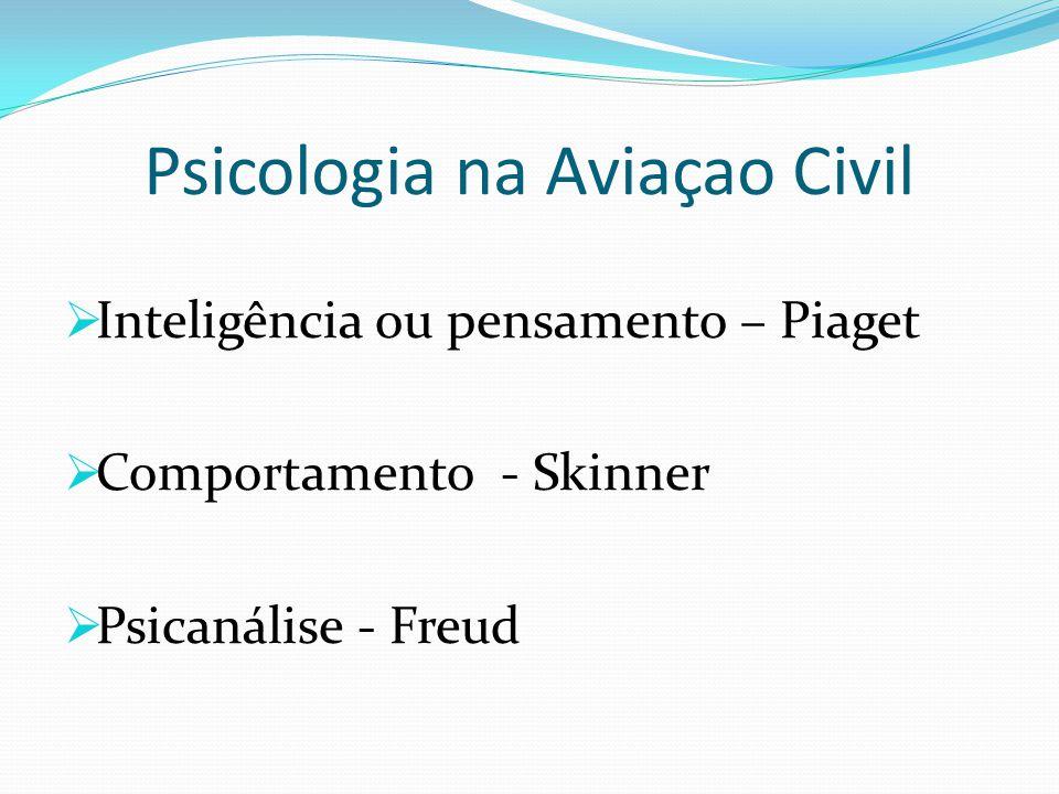 Psicologia na Aviaçao Civil  Inteligência ou pensamento – Piaget  Comportamento - Skinner  Psicanálise - Freud