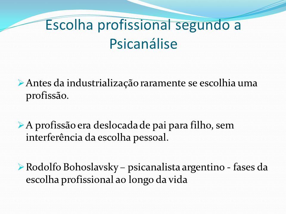 Escolha profissional segundo a Psicanálise  Antes da industrialização raramente se escolhia uma profissão.  A profissão era deslocada de pai para fi