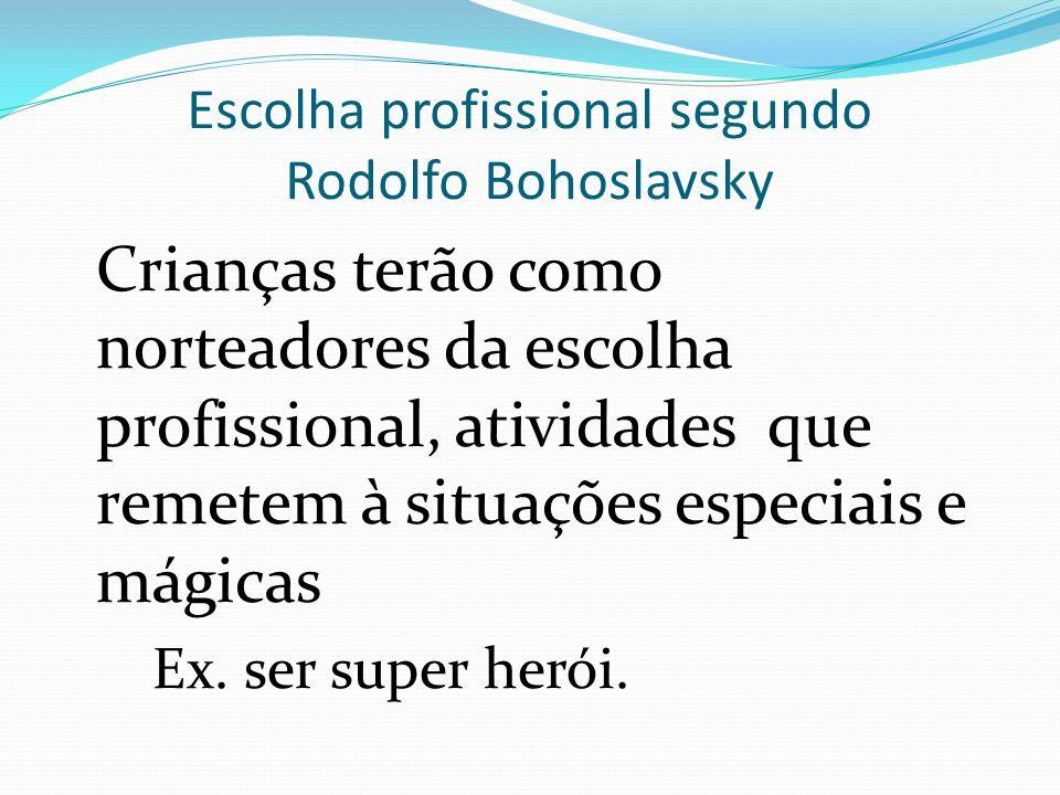 Escolha profissional segundo Rodolfo Bohoslavsky Mais próximo a puberdade a escolha se dá pela imitação de ídolos ou figuras de sucesso.