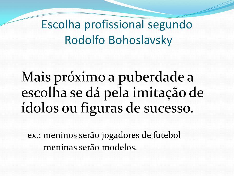 Escolha profissional segundo Rodolfo Bohoslavsky Na adolescência a escolha é voltada para contrapor-se as regras ou ainda contra o desejo familiar; preocupação com social pode surgir.