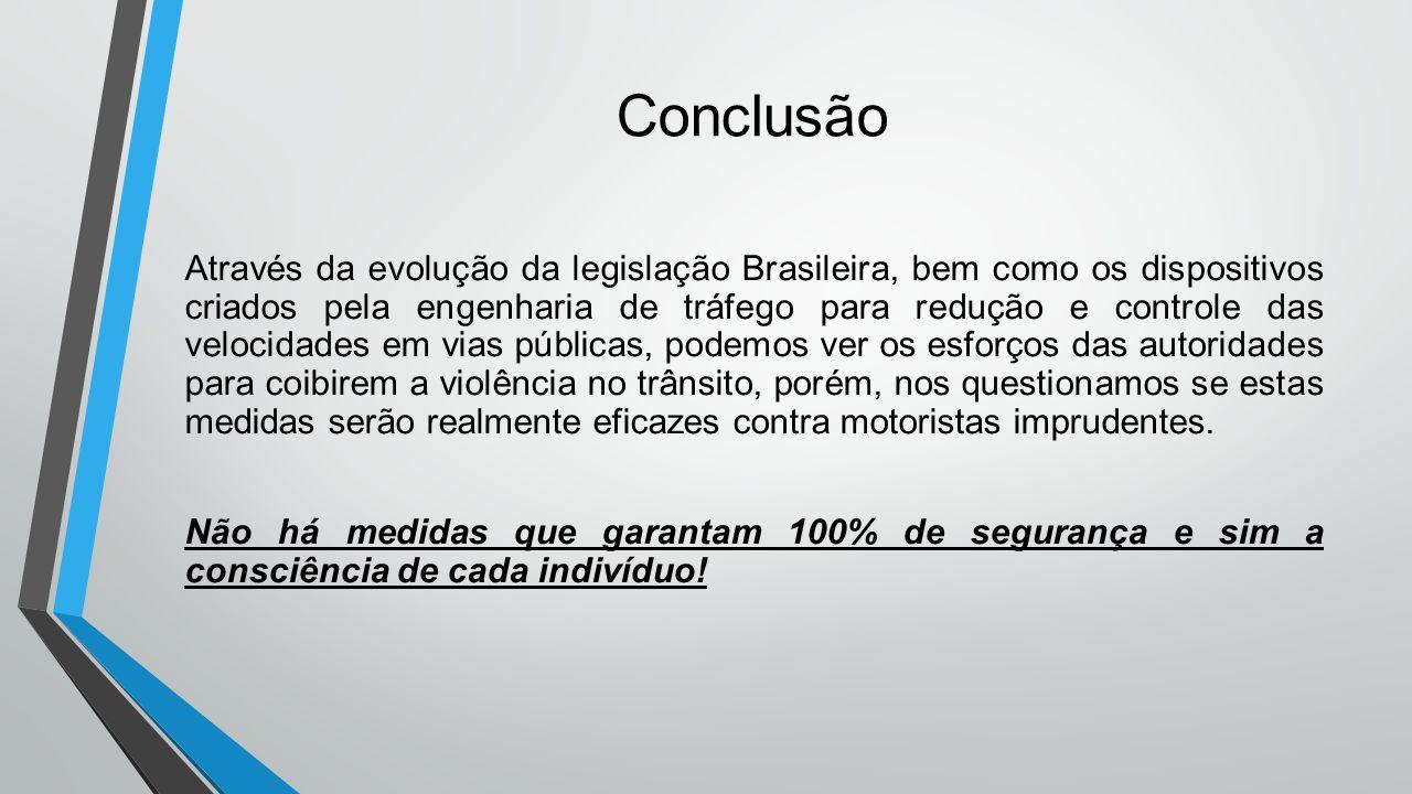 Conclusão Através da evolução da legislação Brasileira, bem como os dispositivos criados pela engenharia de tráfego para redução e controle das veloci
