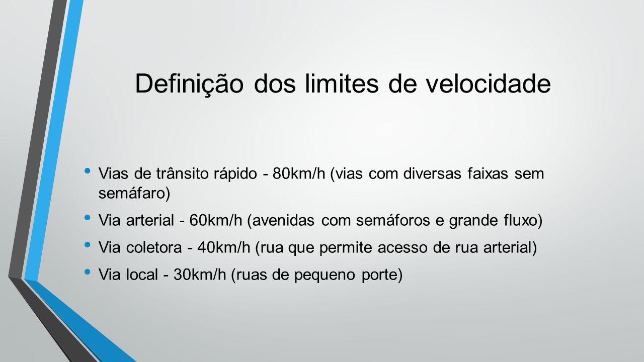 Definição dos limites de velocidade • Vias de trânsito rápido - 80km/h (vias com diversas faixas sem semáfaro) • Via arterial - 60km/h (avenidas com semáforos e grande fluxo) • Via coletora - 40km/h (rua que permite acesso de rua arterial) • Via local - 30km/h (ruas de pequeno porte)