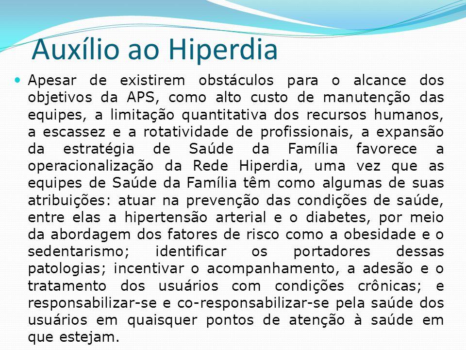 Auxílio ao Hiperdia  Apesar de existirem obstáculos para o alcance dos objetivos da APS, como alto custo de manutenção das equipes, a limitação quant