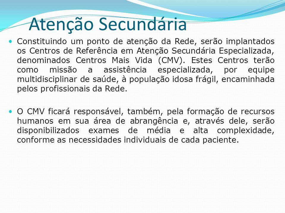 Atenção Secundária  Constituindo um ponto de atenção da Rede, serão implantados os Centros de Referência em Atenção Secundária Especializada, denomin