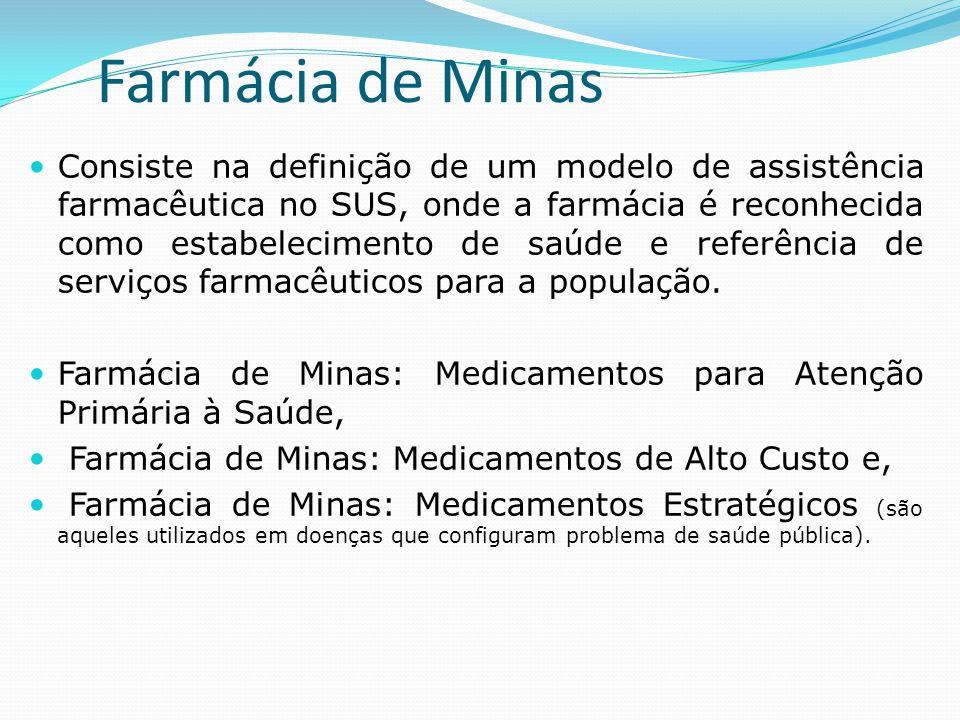 Farmácia de Minas  Consiste na definição de um modelo de assistência farmacêutica no SUS, onde a farmácia é reconhecida como estabelecimento de saúde