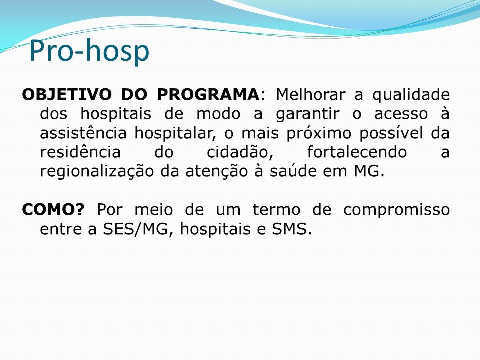 Pro-hosp OBJETIVO DO PROGRAMA: Melhorar a qualidade dos hospitais de modo a garantir o acesso à assistência hospitalar, o mais próximo possível da res