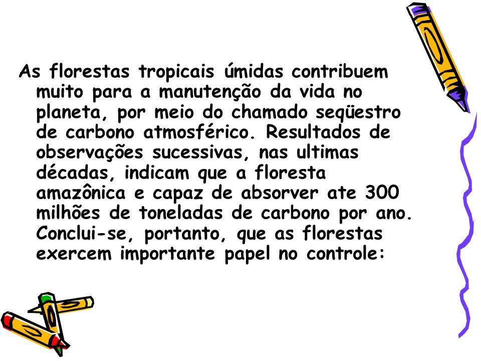 As florestas tropicais úmidas contribuem muito para a manutenção da vida no planeta, por meio do chamado seqüestro de carbono atmosférico. Resultados