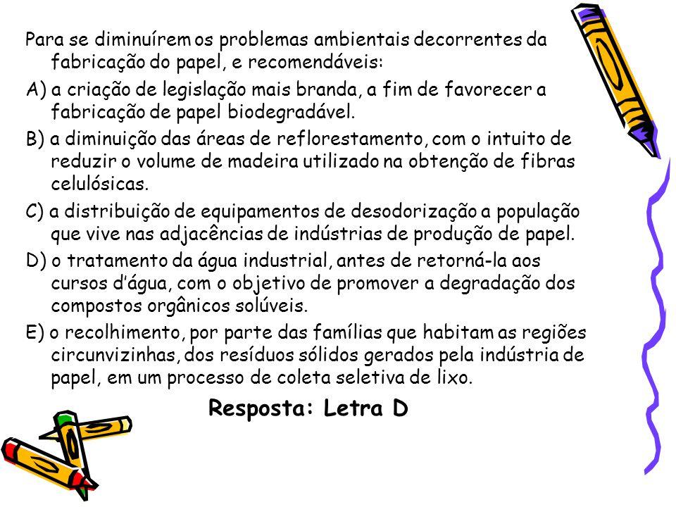 Para se diminuírem os problemas ambientais decorrentes da fabricação do papel, e recomendáveis: A) a criação de legislação mais branda, a fim de favorecer a fabricação de papel biodegradável.