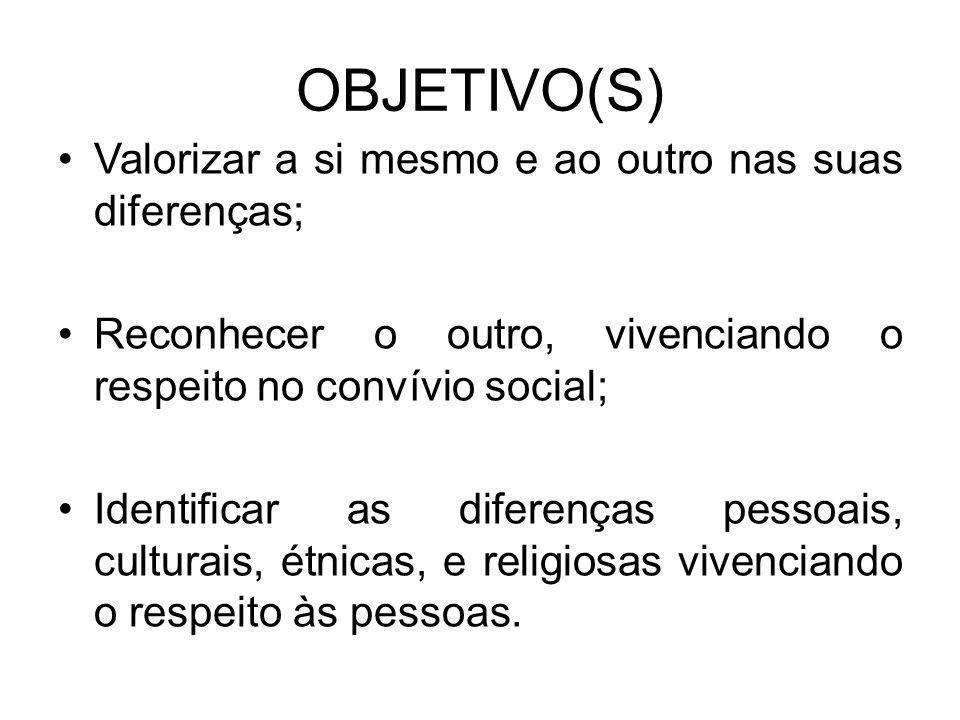 OBJETIVO(S) •Valorizar a si mesmo e ao outro nas suas diferenças; •Reconhecer o outro, vivenciando o respeito no convívio social; •Identificar as dife