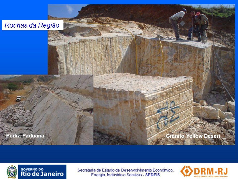 Secretaria de Estado de Desenvolvimento Econômico, Energia, Indústria e Serviços - SEDEIS Granito Yellow Desert Rochas da Região Pedra Paduana