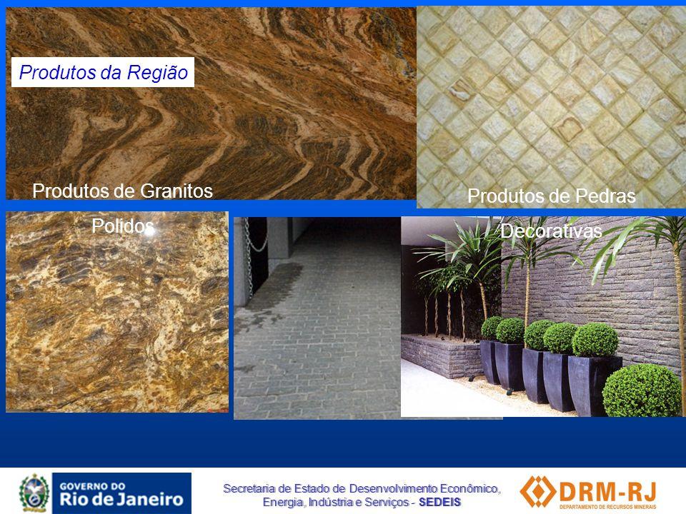 Secretaria de Estado de Desenvolvimento Econômico, Energia, Indústria e Serviços - SEDEIS Produtos da Região Produtos de Pedras Decorativas Produtos d