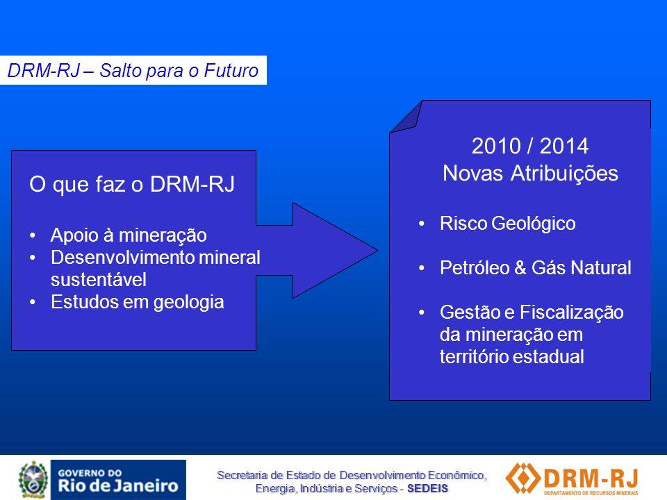 Secretaria de Estado de Desenvolvimento Econômico, Energia, Indústria e Serviços - SEDEIS DRM-RJ – Salto para o Futuro O que faz o DRM-RJ •Apoio à min