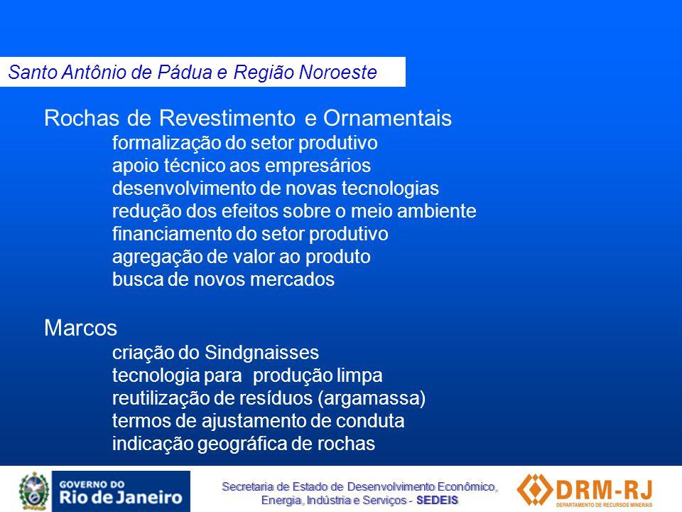 Secretaria de Estado de Desenvolvimento Econômico, Energia, Indústria e Serviços - SEDEIS Rochas de Revestimento e Ornamentais formalização do setor p