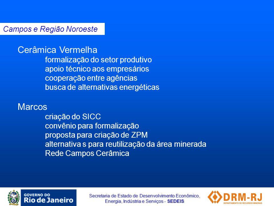 Secretaria de Estado de Desenvolvimento Econômico, Energia, Indústria e Serviços - SEDEIS Cerâmica Vermelha formalização do setor produtivo apoio técn