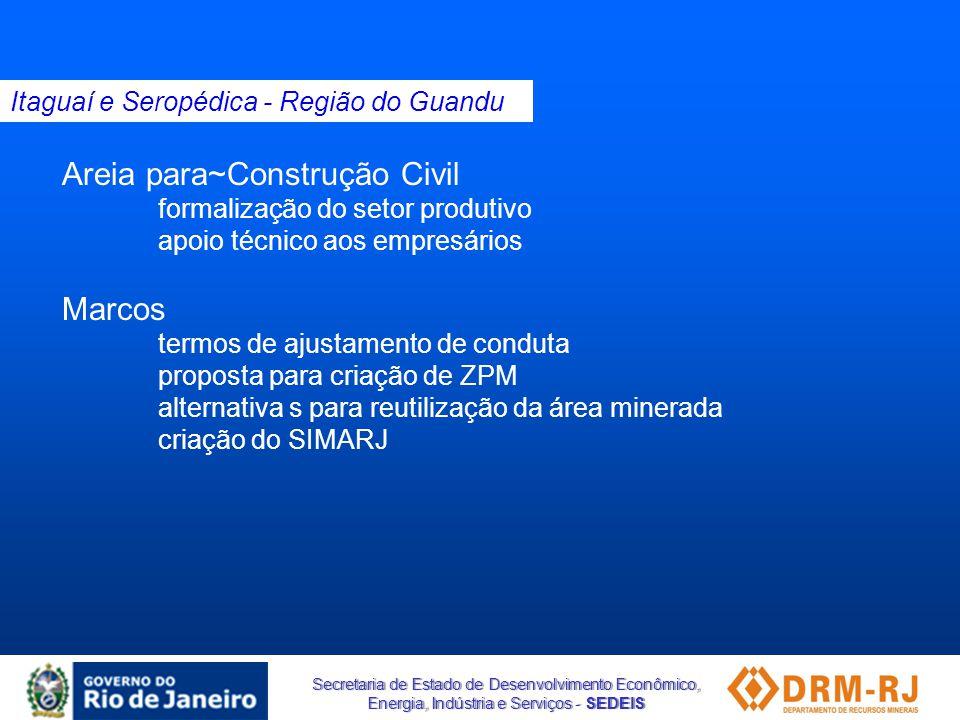 Secretaria de Estado de Desenvolvimento Econômico, Energia, Indústria e Serviços - SEDEIS Areia para~Construção Civil formalização do setor produtivo
