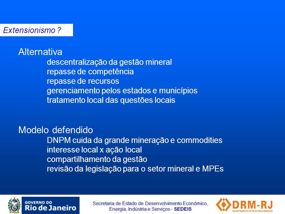Secretaria de Estado de Desenvolvimento Econômico, Energia, Indústria e Serviços - SEDEIS Alternativa descentralização da gestão mineral repasse de co