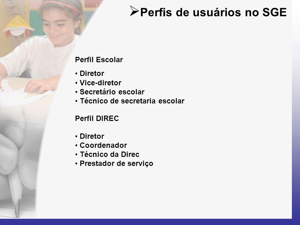  Perfis de usuários no SGE Perfil Escolar • Diretor • Vice-diretor • Secretário escolar • Técnico de secretaria escolar Perfil DIREC • Diretor • Coor