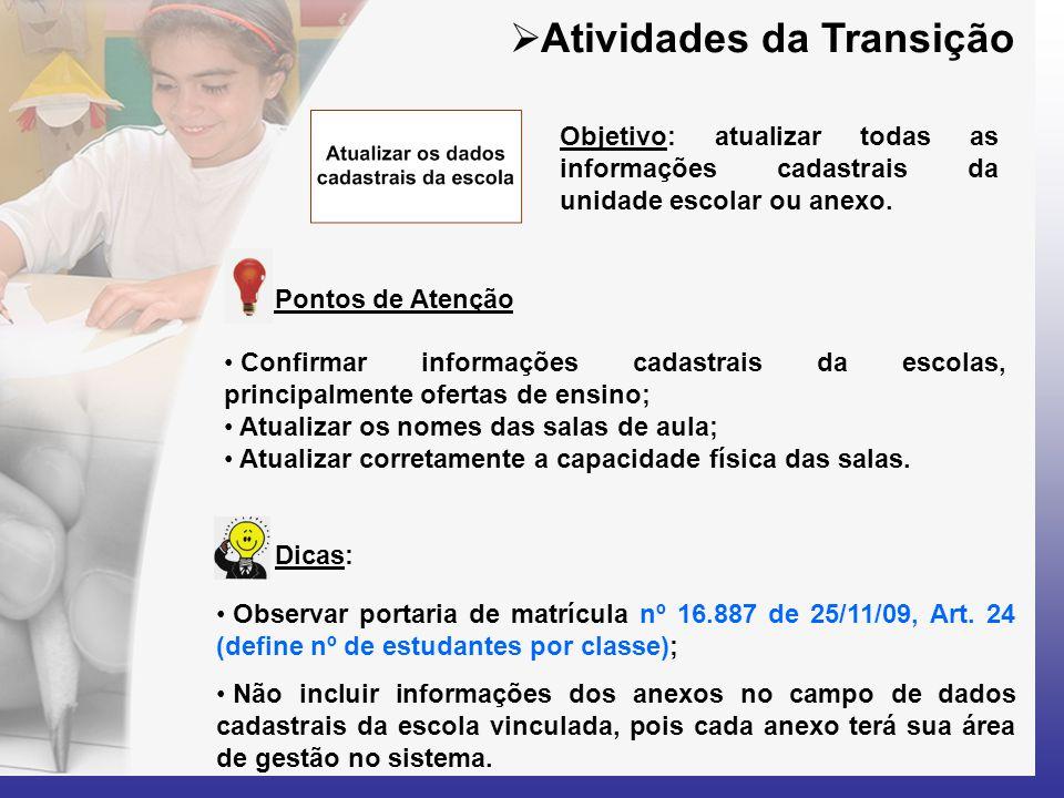 Dicas:  Atividades da Transição Pontos de Atenção • Observar portaria de matrícula nº 16.887 de 25/11/09, Art. 24 (define nº de estudantes por classe