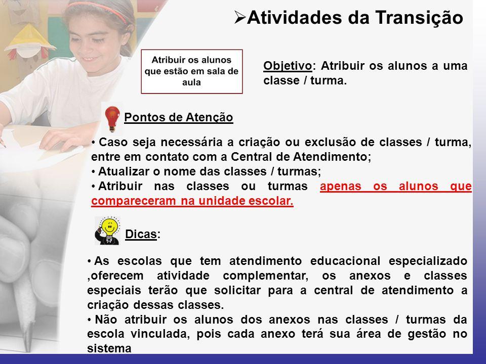  Atividades da Transição Dicas: Pontos de Atenção • Caso seja necessária a criação ou exclusão de classes / turma, entre em contato com a Central de