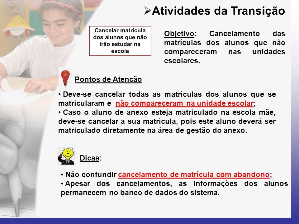  Atividades da Transição • Não confundir cancelamento de matrícula com abandono; • Apesar dos cancelamentos, as informações dos alunos permanecem no