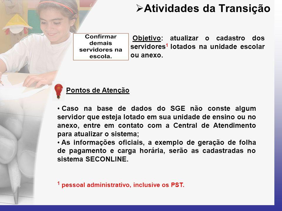  Atividades da Transição Objetivo: atualizar o cadastro dos servidores 1 lotados na unidade escolar ou anexo. • Caso na base de dados do SGE não cons