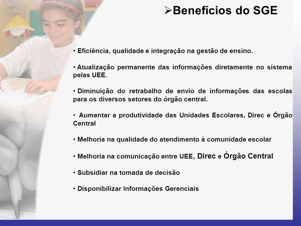  Benefícios do SGE • Eficiência, qualidade e integração na gestão de ensino. • Atualização permanente das informações diretamente no sistema pelas UE