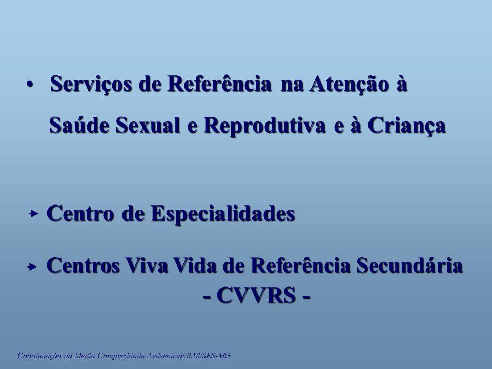 Coordenação da Média Complexidade Assistencial/SAS/SES-MG • Serviços de Referência na Atenção à Saúde Sexual e Reprodutiva e à Criança Saúde Sexual e Reprodutiva e à Criança Centros Viva Vida de Referência Secundária - CVVRS - Centro de Especialidades