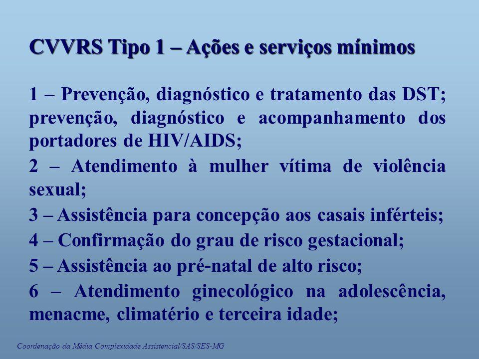 Coordenação da Média Complexidade Assistencial/SAS/SES-MG CVVRS Tipo 1 – Ações e serviços mínimos 1 – Prevenção, diagnóstico e tratamento das DST; pre