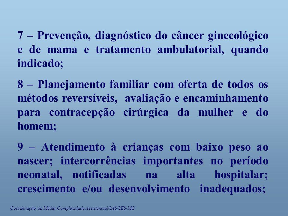 Coordenação da Média Complexidade Assistencial/SAS/SES-MG 7 – Prevenção, diagnóstico do câncer ginecológico e de mama e tratamento ambulatorial, quand