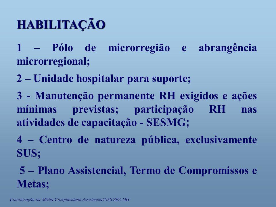 Coordenação da Média Complexidade Assistencial/SAS/SES-MG HABILITAÇÃO 1 – Pólo de microrregião e abrangência microrregional; 2 – Unidade hospitalar para suporte; 3 - Manutenção permanente RH exigidos e ações mínimas previstas; participação RH nas atividades de capacitação - SESMG ; 4 – Centro de natureza pública, exclusivamente SUS; 5 – Plano Assistencial, Termo de Compromissos e Metas;