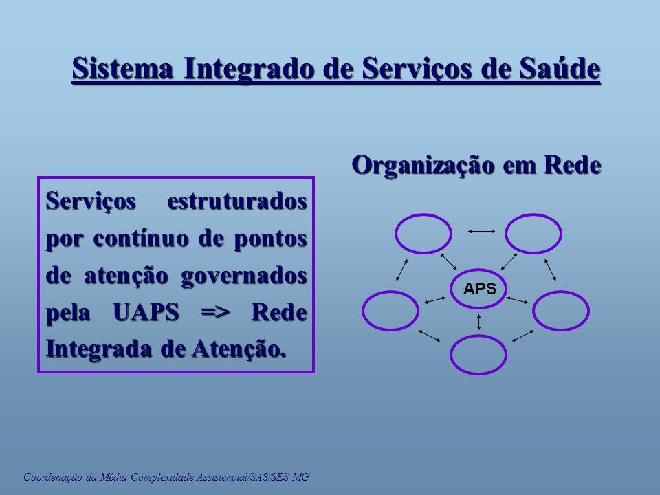 Coordenação da Média Complexidade Assistencial/SAS/SES-MG Sistema Integrado de Serviços de Saúde Serviços estruturados por contínuo de pontos de atenção governados pela UAPS => Rede Integrada de Atenção.