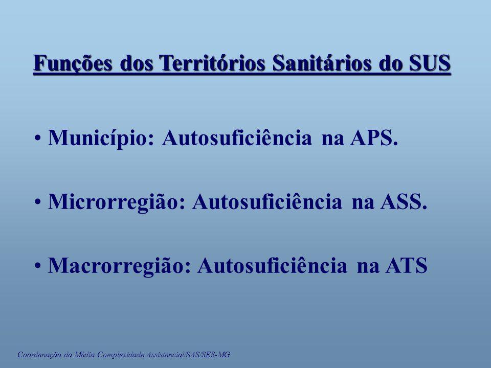 Coordenação da Média Complexidade Assistencial/SAS/SES-MG • Município: Autosuficiência na APS. • Microrregião: Autosuficiência na ASS. • Macrorregião: