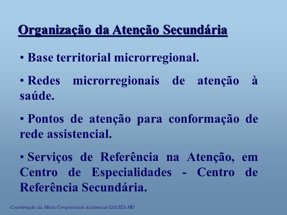 Coordenação da Média Complexidade Assistencial/SAS/SES-MG • Base territorial microrregional. • Redes microrregionais de atenção à saúde. • Pontos de a