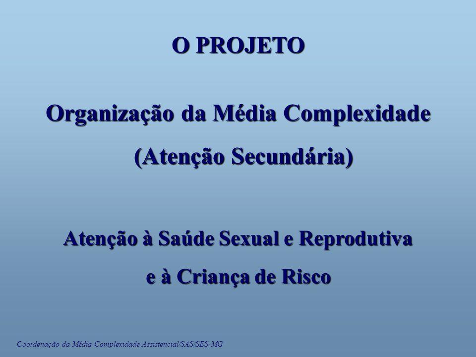 Coordenação da Média Complexidade Assistencial/SAS/SES-MG O PROJETO Organização da Média Complexidade (Atenção Secundária) (Atenção Secundária) Atenção à Saúde Sexual e Reprodutiva e à Criança de Risco