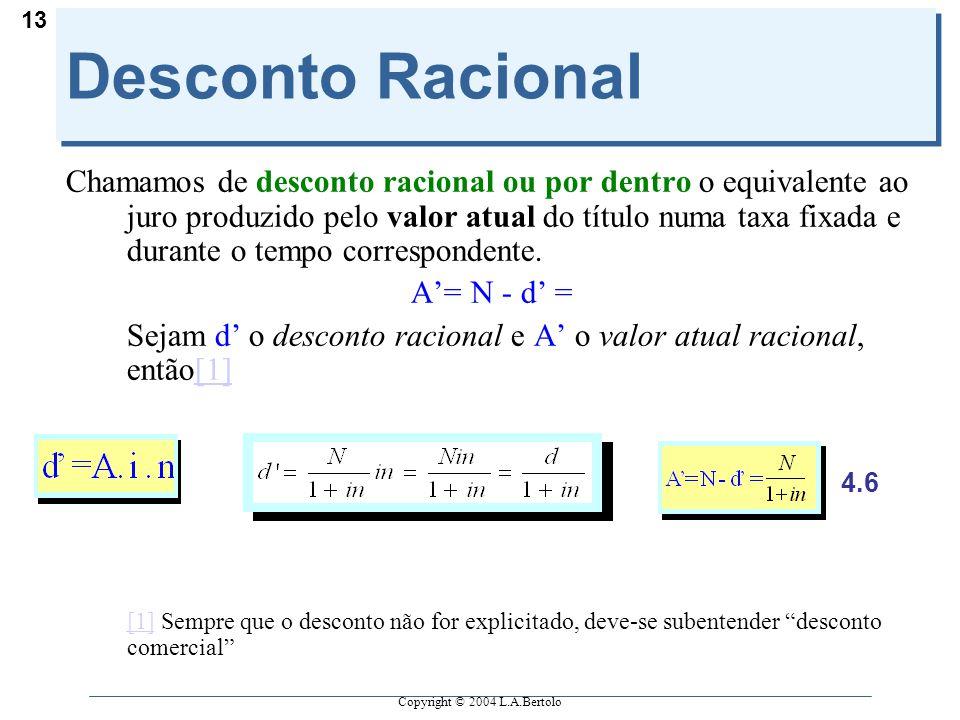 Copyright © 2004 L.A.Bertolo 13 Desconto Racional Chamamos de desconto racional ou por dentro o equivalente ao juro produzido pelo valor atual do títu