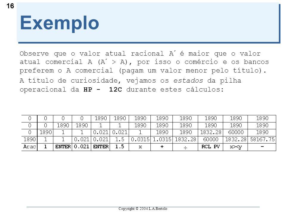 Copyright © 2004 L.A.Bertolo 16 Exemplo Observe que o valor atual racional A´ é maior que o valor atual comercial A (A´ > A), por isso o comércio e os