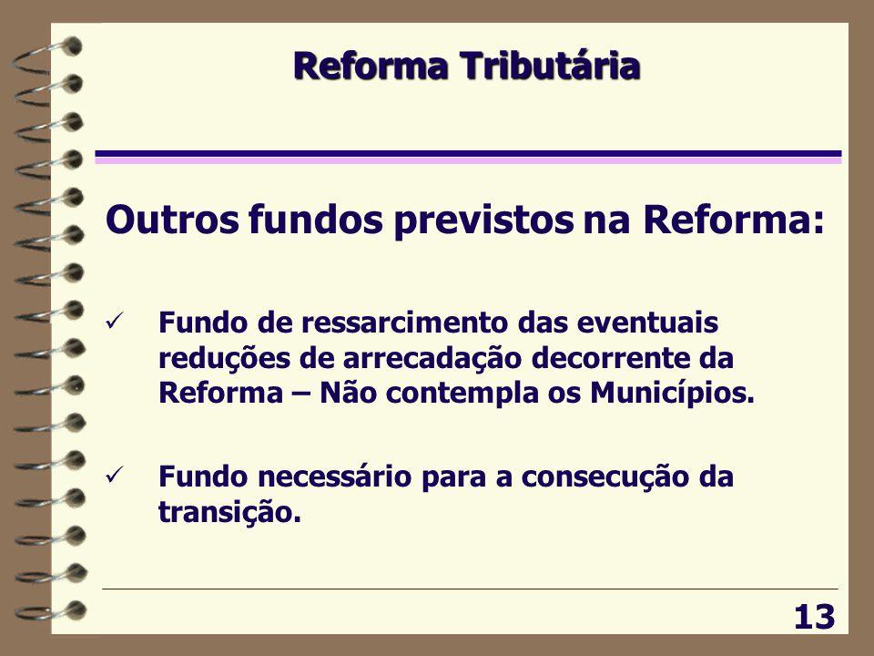 Reforma Tributária 13 Outros fundos previstos na Reforma:  Fundo de ressarcimento das eventuais reduções de arrecadação decorrente da Reforma – Não contempla os Municípios.