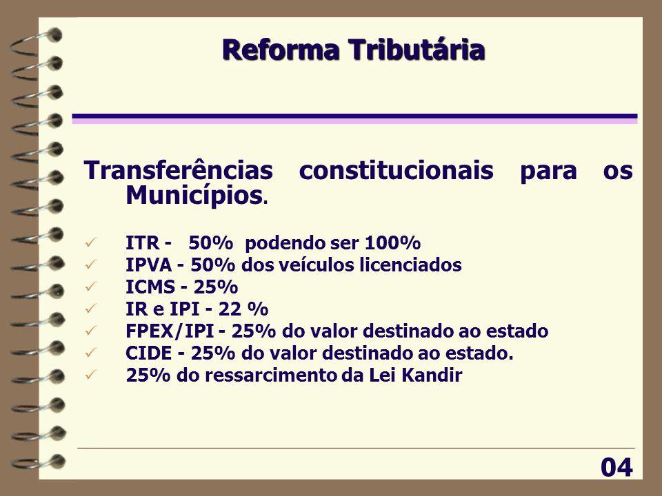 Reforma Tributária 04 Transferências constitucionais para os Municípios.