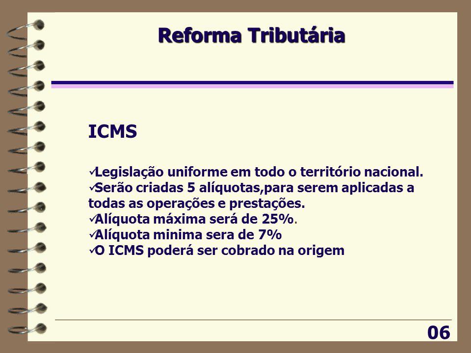 Reforma Tributária 06 ICMS  Legislação uniforme em todo o território nacional.