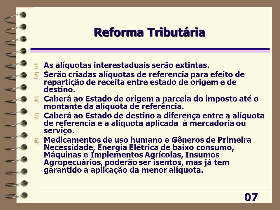 Reforma Tributária 4 As alíquotas interestaduais serão extintas.