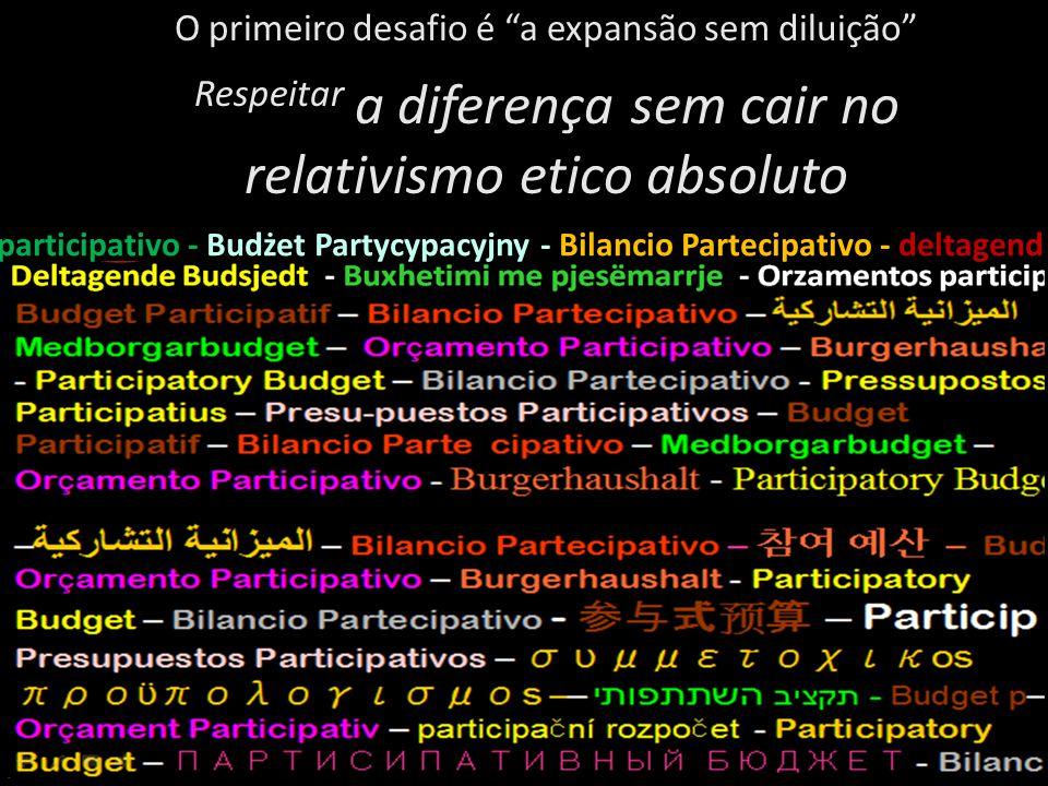 O primeiro desafio é a expansão sem diluição Respeitar a diferença sem cair no relativismo etico absoluto participativo - Budżet Partycypacyjny - Bilancio Partecipativo - deltagend