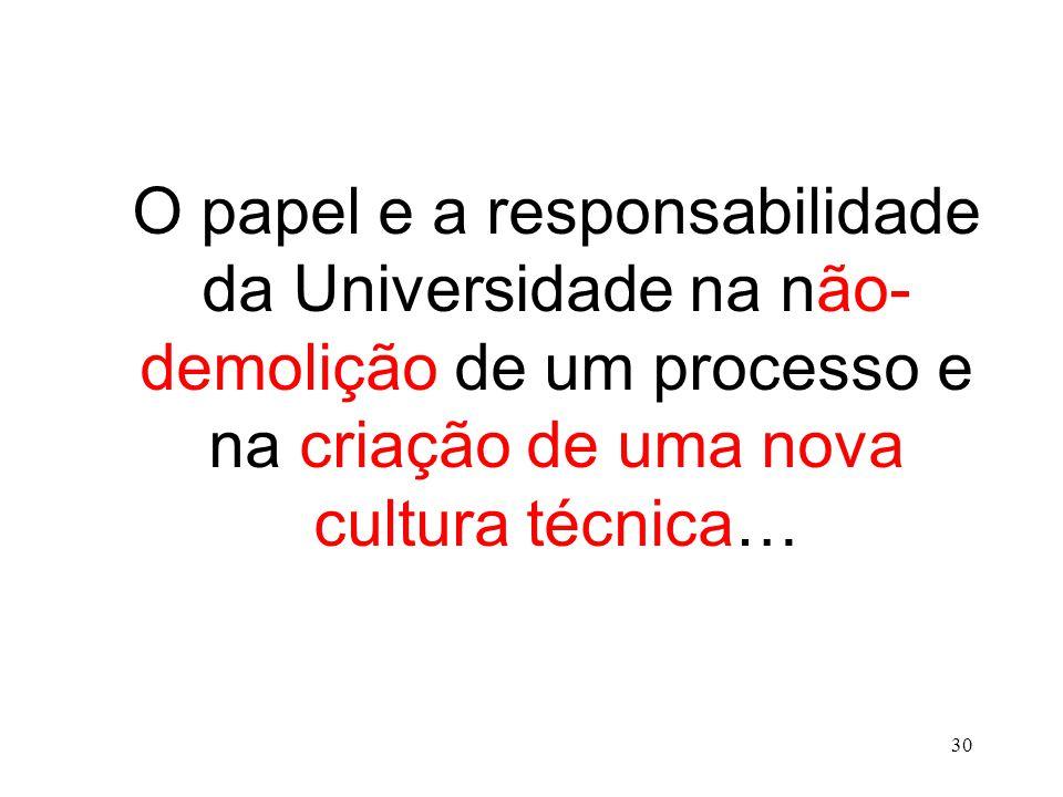 O papel e a responsabilidade da Universidade na não- demolição de um processo e na criação de uma nova cultura técnica… 30