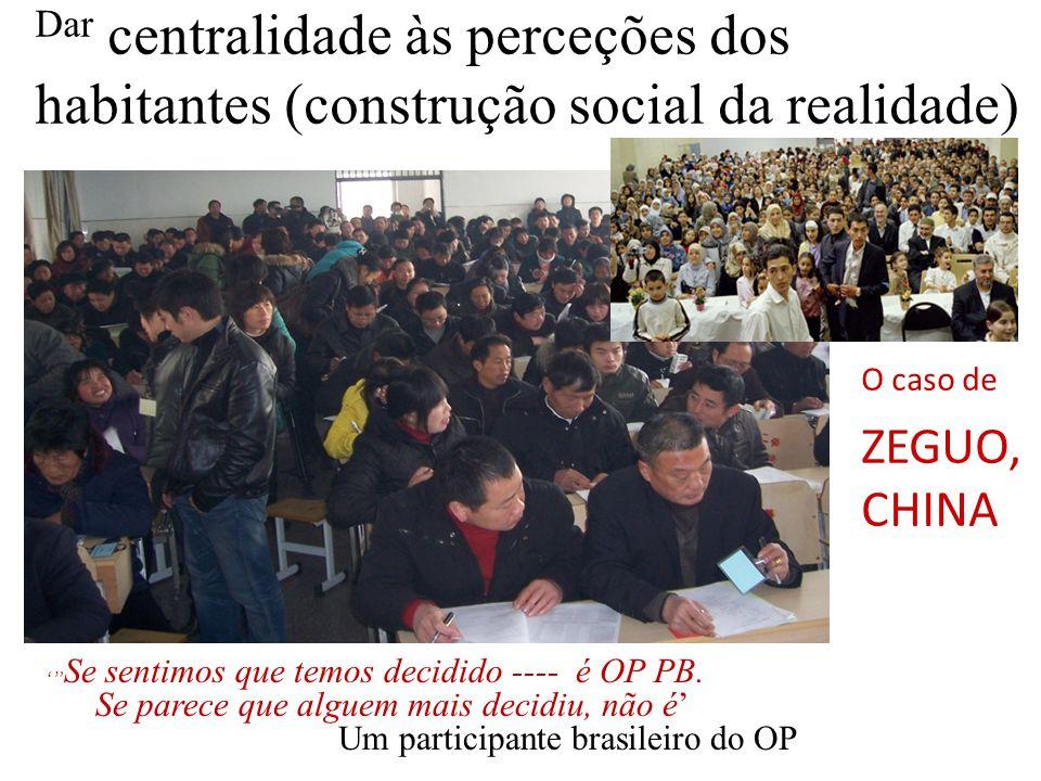 Dar centralidade às perceções dos habitantes (construção social da realidade) ' Se sentimos que temos decidido ---- é OP PB.