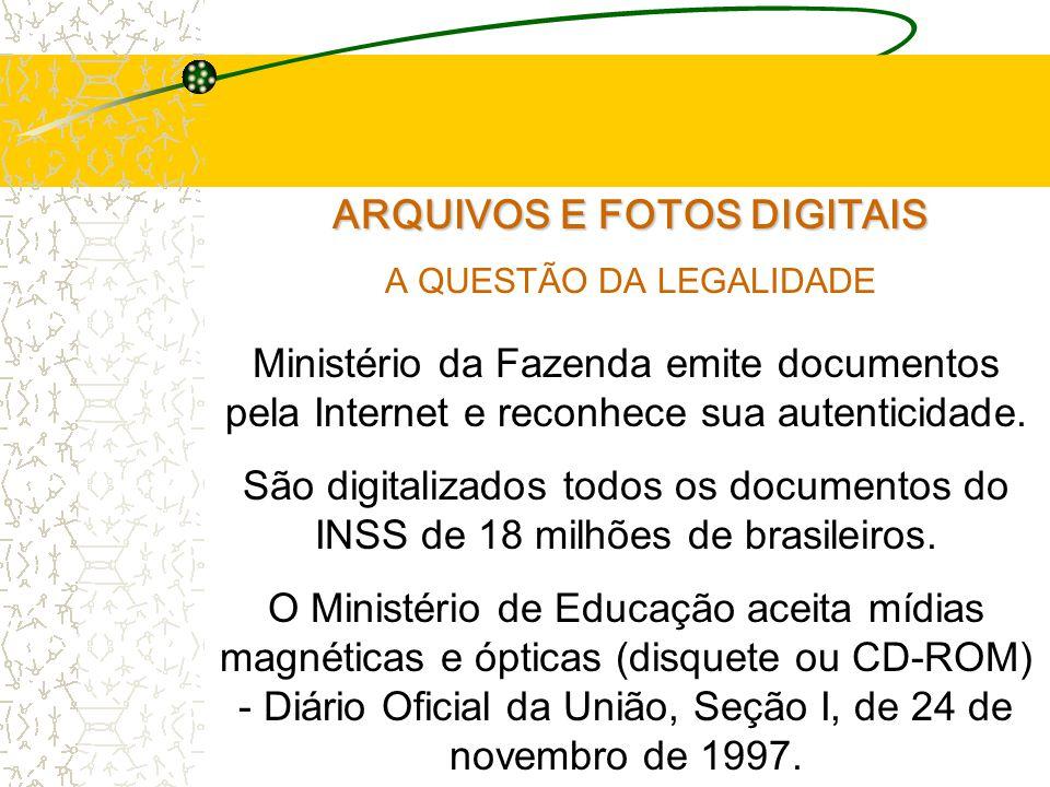 ARQUIVOS E FOTOS DIGITAIS A QUESTÃO DA LEGALIDADE Ministério da Fazenda emite documentos pela Internet e reconhece sua autenticidade.