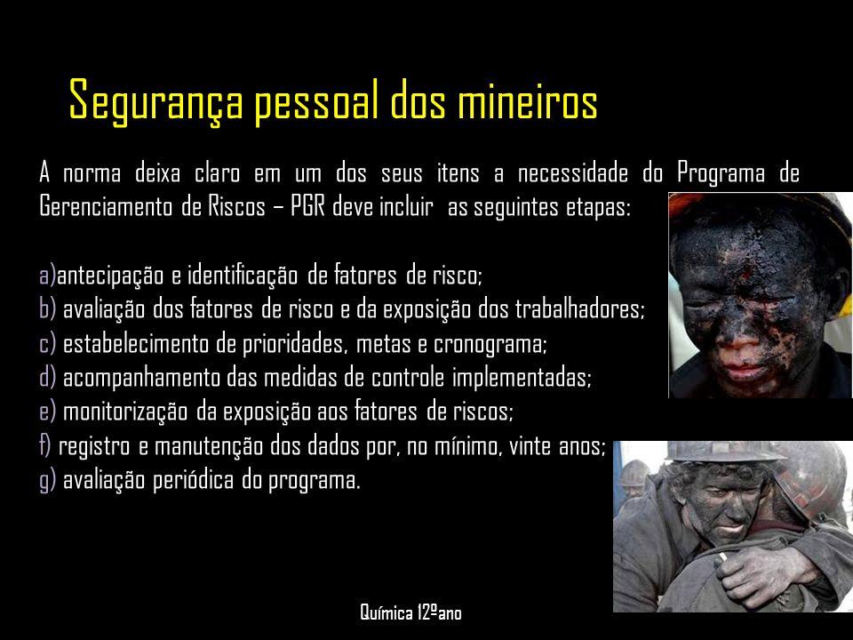 Segurança pessoal dos mineiros A norma deixa claro em um dos seus itens a necessidade do Programa de Gerenciamento de Riscos – PGR deve incluir as seg