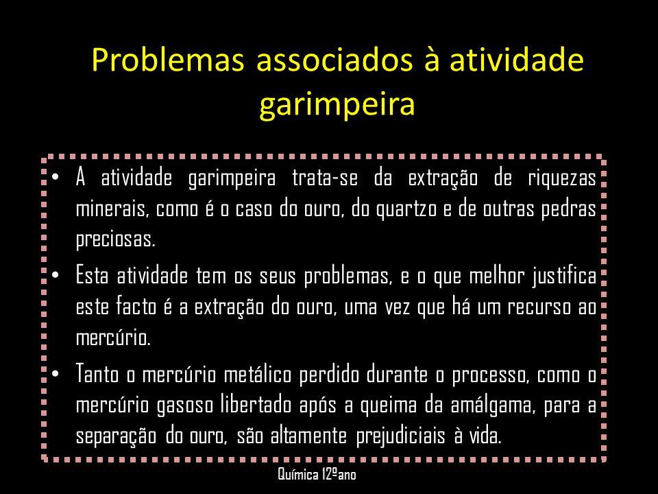 Problemas associados à atividade garimpeira • A atividade garimpeira trata-se da extração de riquezas minerais, como é o caso do ouro, do quartzo e de